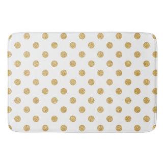 Elegant Gold Glitter Polka Dots Pattern Bath Mat
