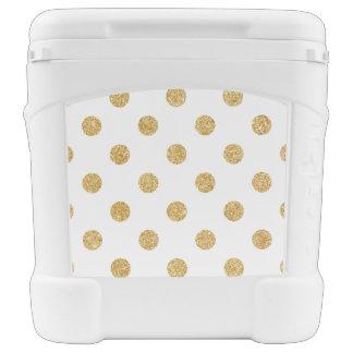 Elegant Gold Glitter Polka Dots Pattern Cooler