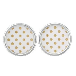 Elegant Gold Glitter Polka Dots Pattern Cufflinks