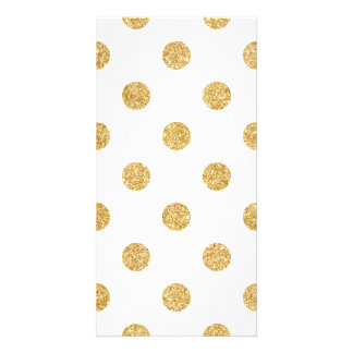 Elegant Gold Glitter Polka Dots Pattern Custom Photo Card