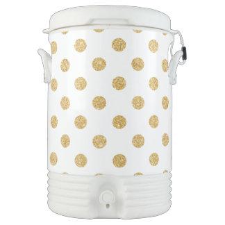 Elegant Gold Glitter Polka Dots Pattern Drinks Cooler