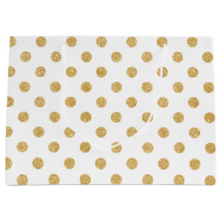Elegant Gold Glitter Polka Dots Pattern Large Gift Bag