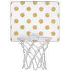 Elegant Gold Glitter Polka Dots Pattern Mini Basketball Hoop