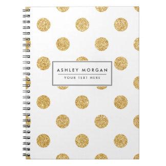 Elegant Gold Glitter Polka Dots Pattern Notebooks
