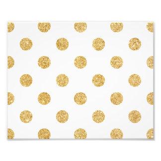 Elegant Gold Glitter Polka Dots Pattern Photo Art