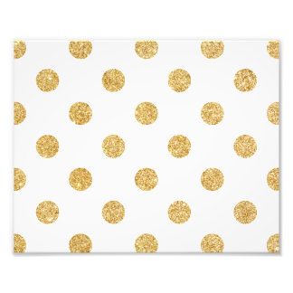 Elegant Gold Glitter Polka Dots Pattern Photo Print