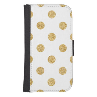 Elegant Gold Glitter Polka Dots Pattern Samsung S4 Wallet Case