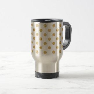 Elegant Gold Glitter Polka Dots Pattern Travel Mug