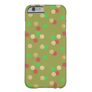 elegant gold glitter red green Christmas confetti Barely There iPhone 6 Case