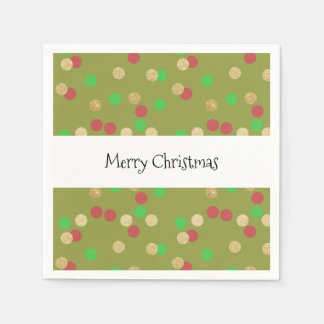 elegant gold glitter red green Christmas confetti Napkin