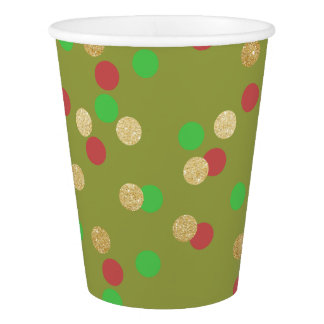 elegant gold glitter red green Christmas confetti Paper Cup