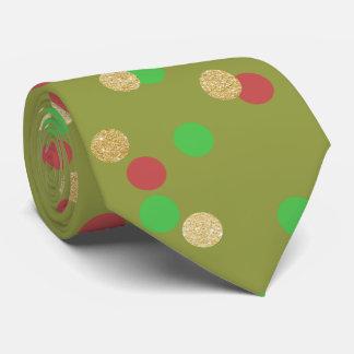 elegant gold glitter red green Christmas confetti Tie