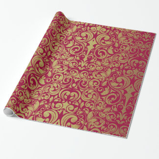 Elegant Gold Glitter Royal Red Damask Wrapping Paper