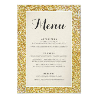 Elegant Gold Glitter Wedding Menu Card