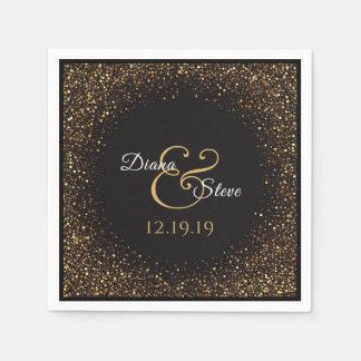 Elegant Gold Glitter Wedding Monogram Paper Napkins