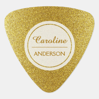 Elegant Gold Glitter with Custom Text Guitar Pick