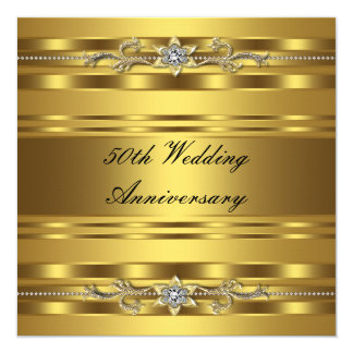 "Elegant Gold Golden 50th Wedding Anniversary 5.25"" Square Invitation Card"