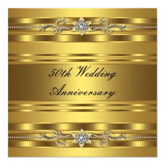 "Elegant Gold Golden 50th Wedding Anniversary 5.25"" Square Invitation Card"