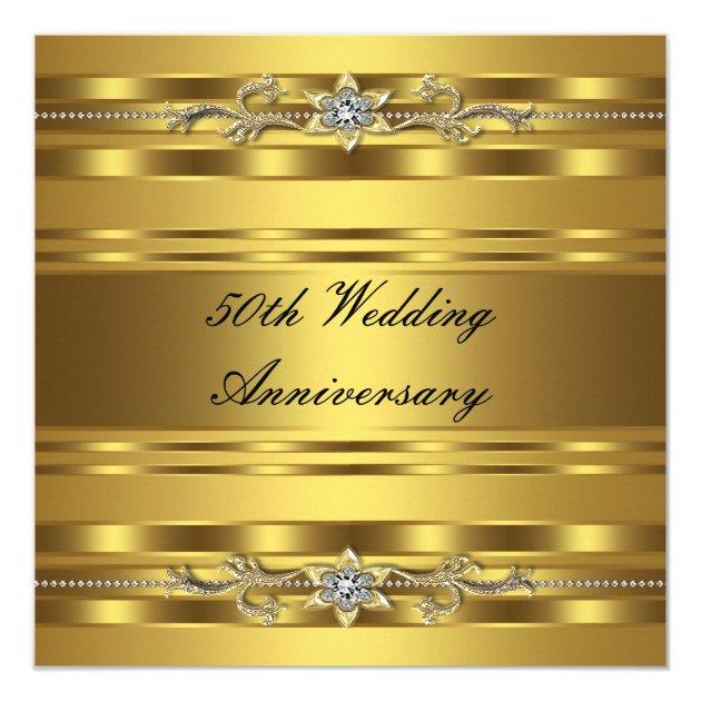 Elegant Gold Golden 50th Wedding Anniversary 5 25 Quot Square