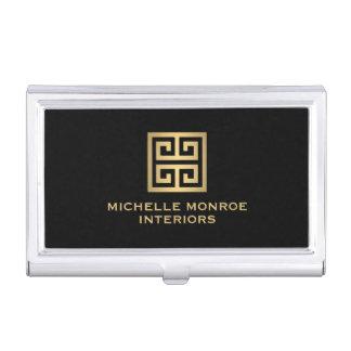 Elegant Gold Greek Key Interior Designer Black Business Card Holder