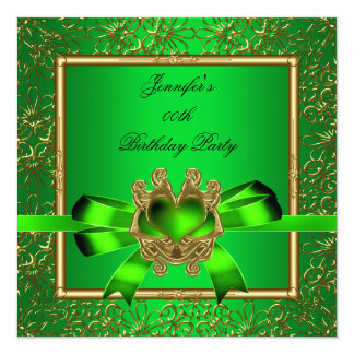 "Elegant Gold Green Lime Jewel Birthday Party 5.25"" Square Invitation Card"