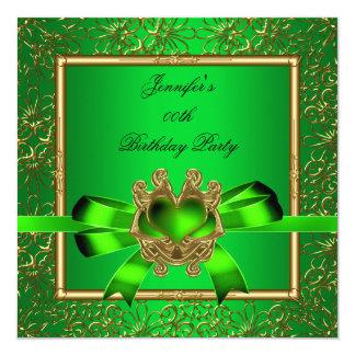 Elegant Gold Green Lime Jewel Birthday Party Card