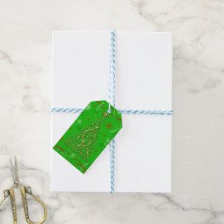 Elegant Gold Green Swirls Christmas Gift Tags