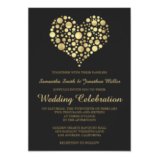 Elegant Gold Heart Dusty Black Wedding Invitation