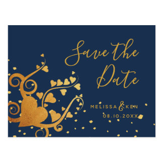 Elegant gold heart & navy save the date postcard
