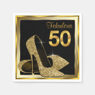 Elegant Gold High Heel 50th Birthday Party Paper Napkin