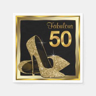 Elegant Gold High Heel 50th Birthday Party Paper Napkin