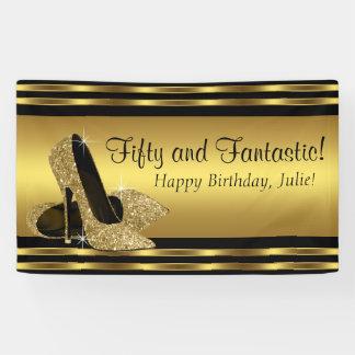 Elegant Gold High Heel Birthday Party Banner