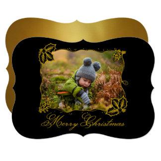 Elegant Gold Holiday Merry Christmas Photo Card