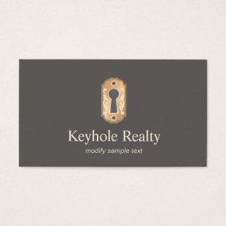 Elegant Gold Key Hole Logo Real Estate Business Card