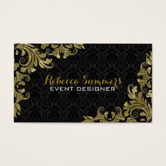 Elegant Gold Lace Black Damasks Business Card