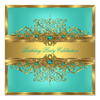"""Elegant Gold Lace Jade Green Teal Pearls Party 5.25"""" Square Invitation Card"""
