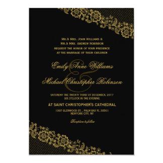 Elegant gold lace rustic wedding invitation