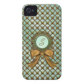 Elegant Gold Lattice Look with Monogram iPhone 4 Case-Mate Case