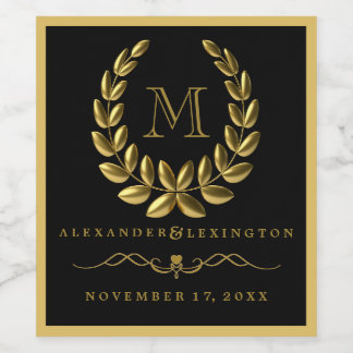 Elegant Gold Laurel Wreath and Monogram Wedding Wine Label