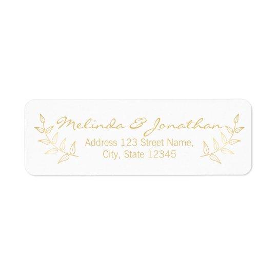 Elegant Gold Laurels Wedding Return Address Label