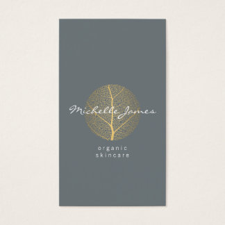 Elegant Gold Leaf Logo on Slate Vertical Business Card