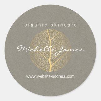 Elegant Gold Leaf Logo on Tan Cardboard Look Classic Round Sticker