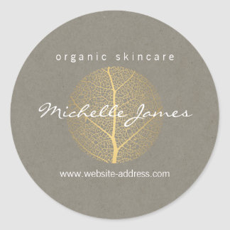 Elegant Gold Leaf Logo on Tan Cardboard Look Round Sticker