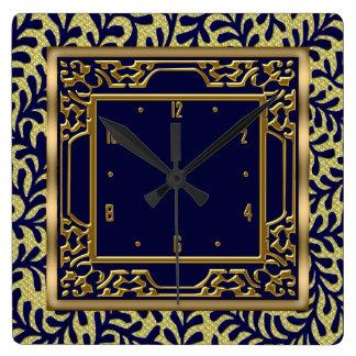 Elegant Gold Leaves Floral Wall Clock