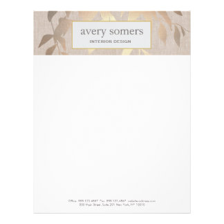 Elegant Gold Leaves Modern Interior Design Beige Letterhead