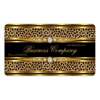 Elegant Gold Leopard Black Faux Diamond Pack Of Standard Business Cards