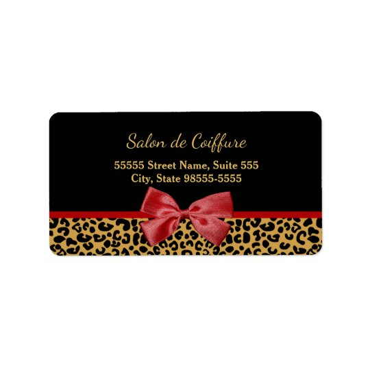 Elegant Gold Leopard Print With Red Bow Hair Salon