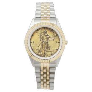 Elegant Gold Liberty Coin Watch