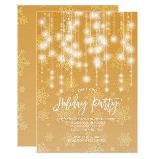 Elegant Gold Light Holiday Party Invitation