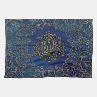 Elegant  Gold Lotus flower on blue Kitchen Towel